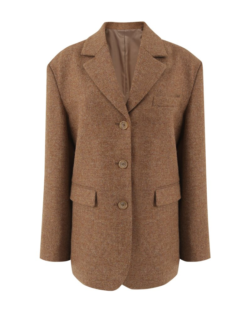 Three button boyfriend fit blazer (CAMEL)