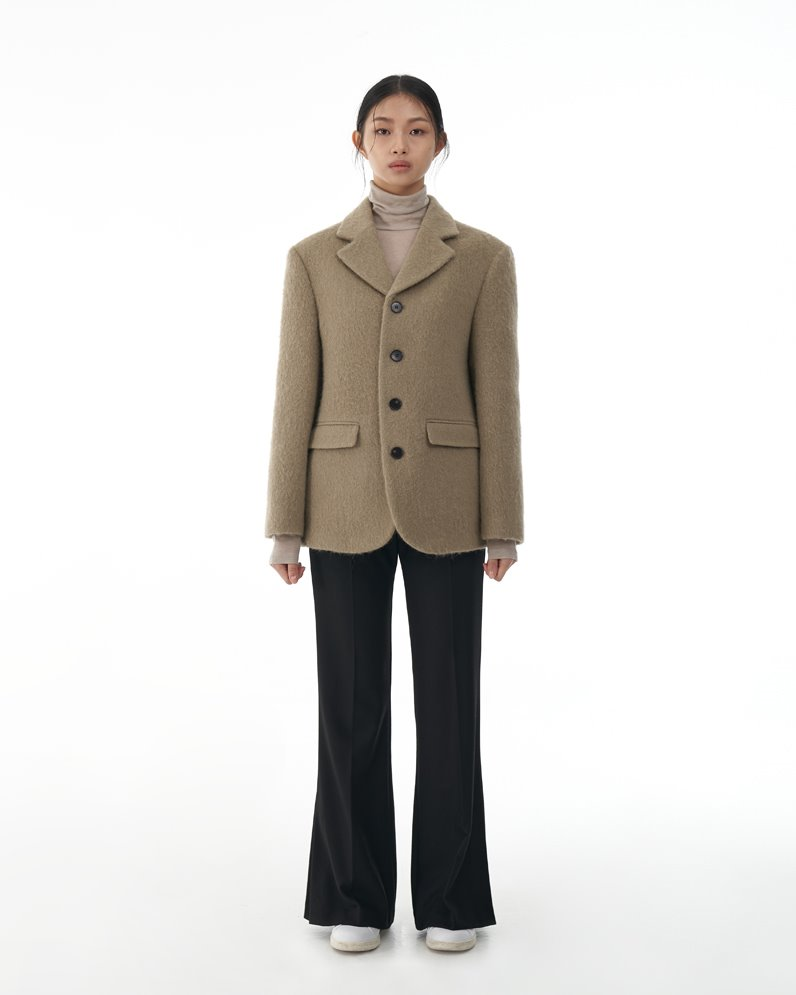 Four Button Alpaca Blazer (KHAKI GRAY)