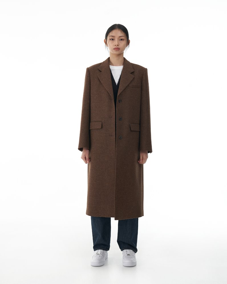 British Wool Coat with Detachable Duck Down Vest (BROWN)ATELIER EDITION