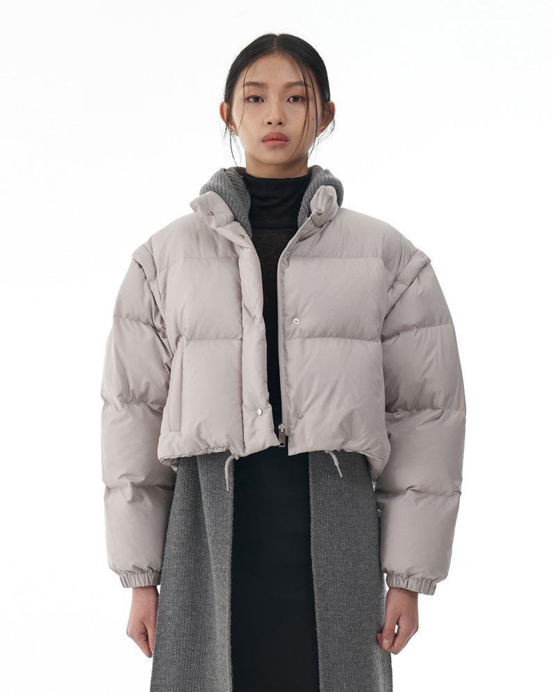 Crop Duck Down Jacket with Detachable Sleeves (GRAY)
