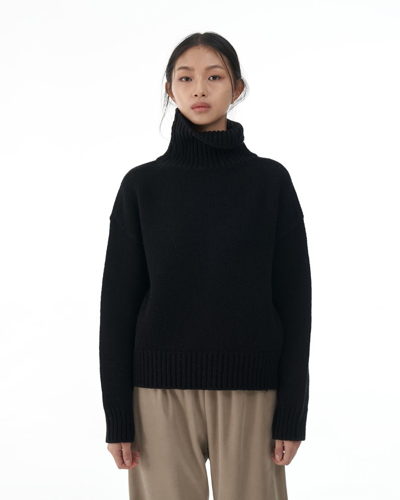 Merino Wool Turtle Neck Sweater (BLACK)