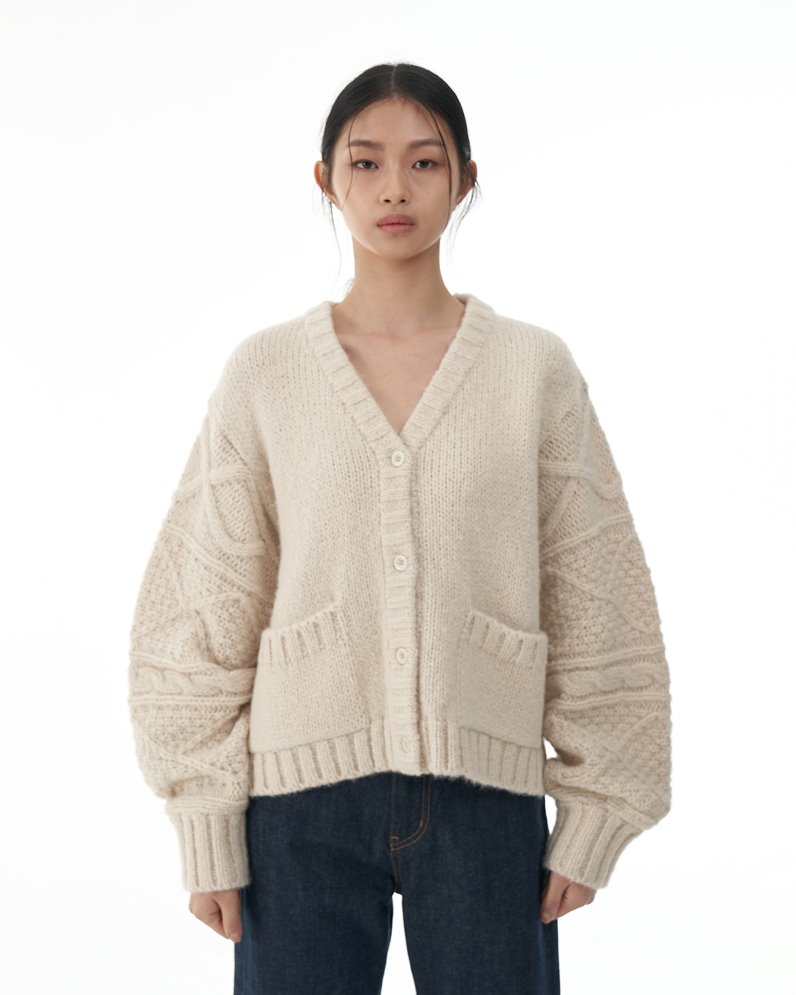 Alpaca Blended Fisherman Cardigan