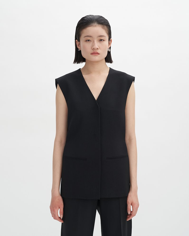 WOOL SNAP VEST (BLACK) ATELIER EDITION