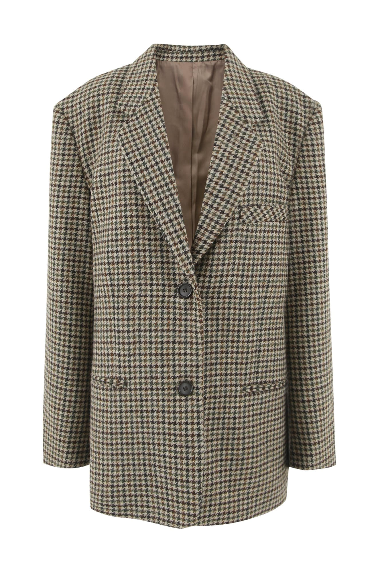 Oversized houndstooth blazer (BROWN CHECK)