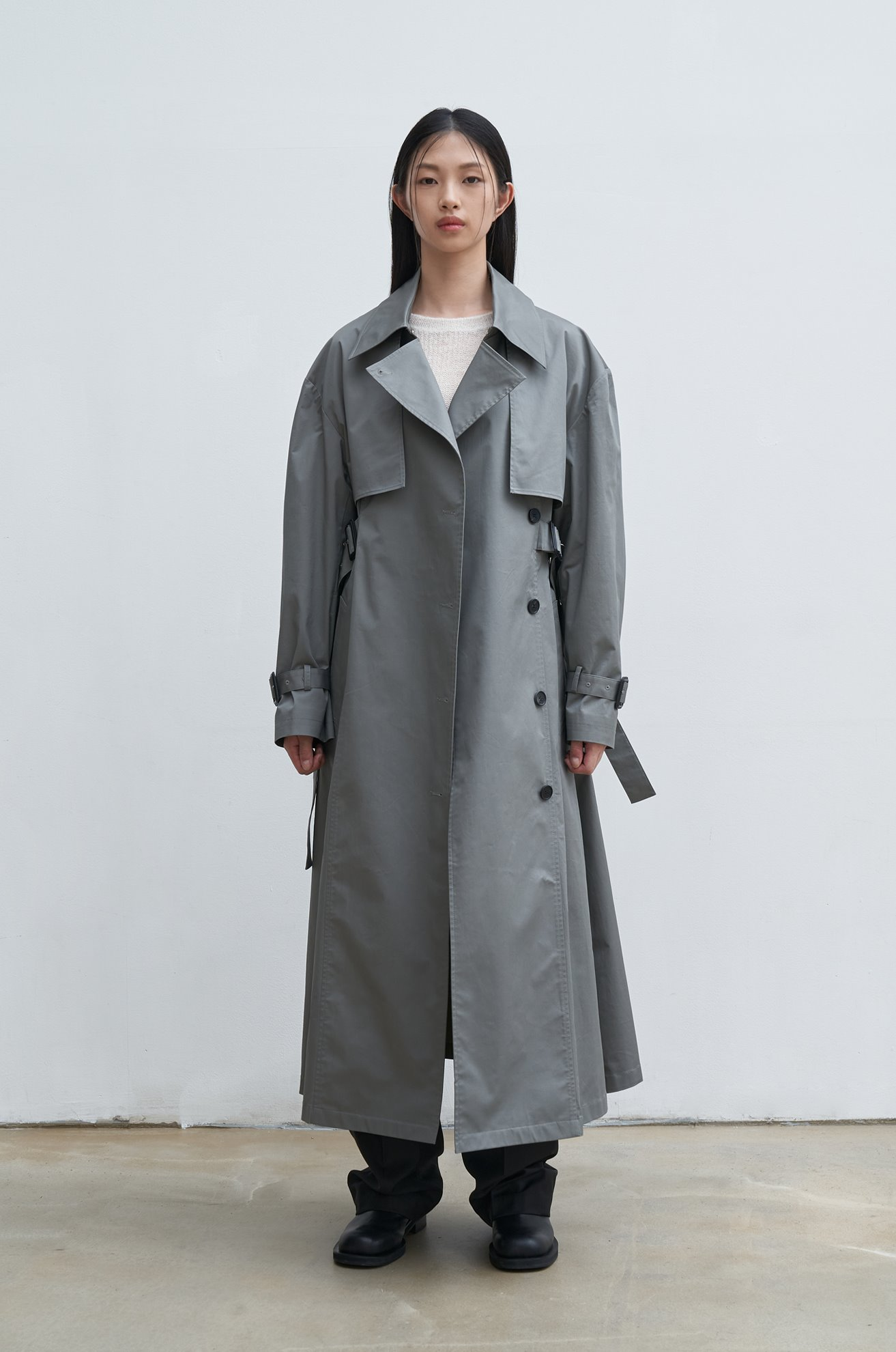 Sue double belt trench coat