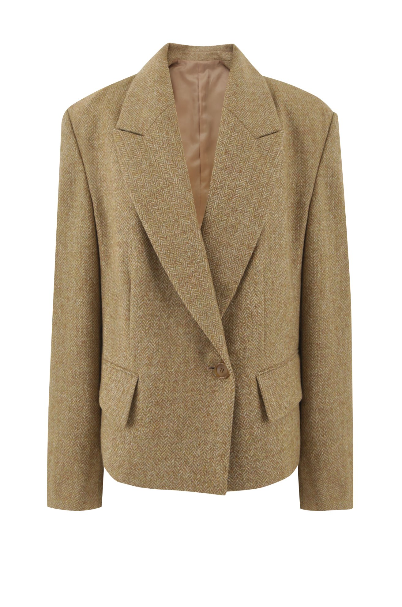 Cropped herringbone one button blazer (CAMEL)