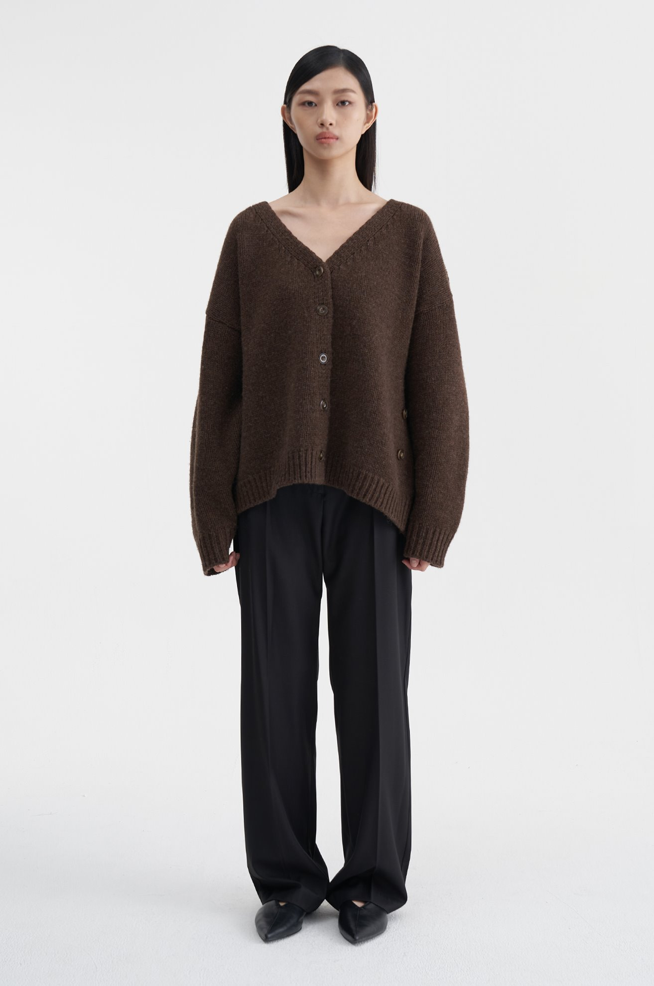 Asymetrical Wool Cardigan (BROWN)