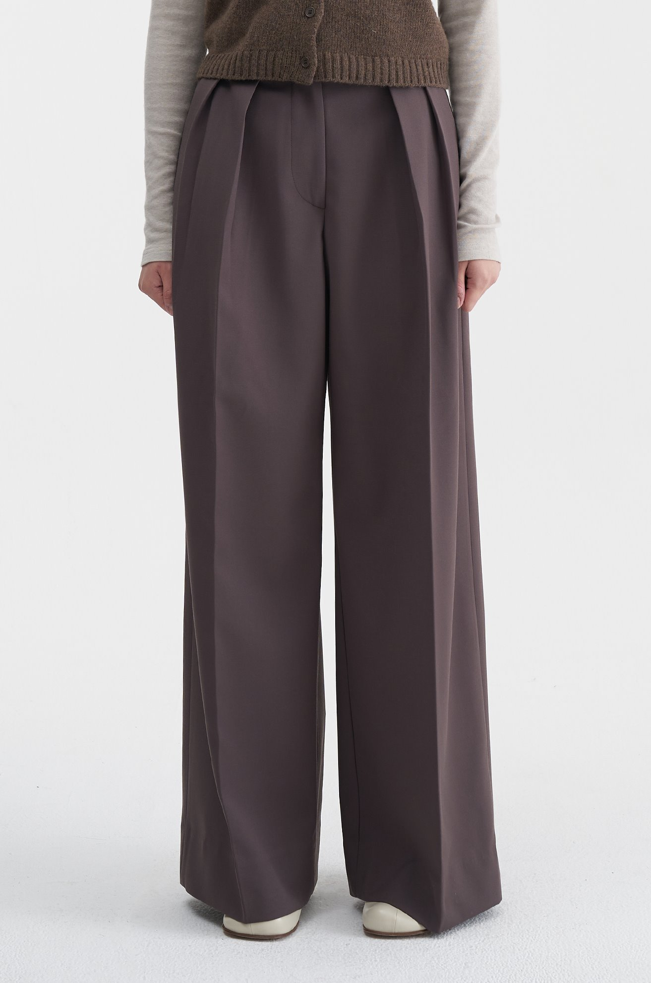 Two Pleat Wide Trouser (BROWN)ATELIER EDITION