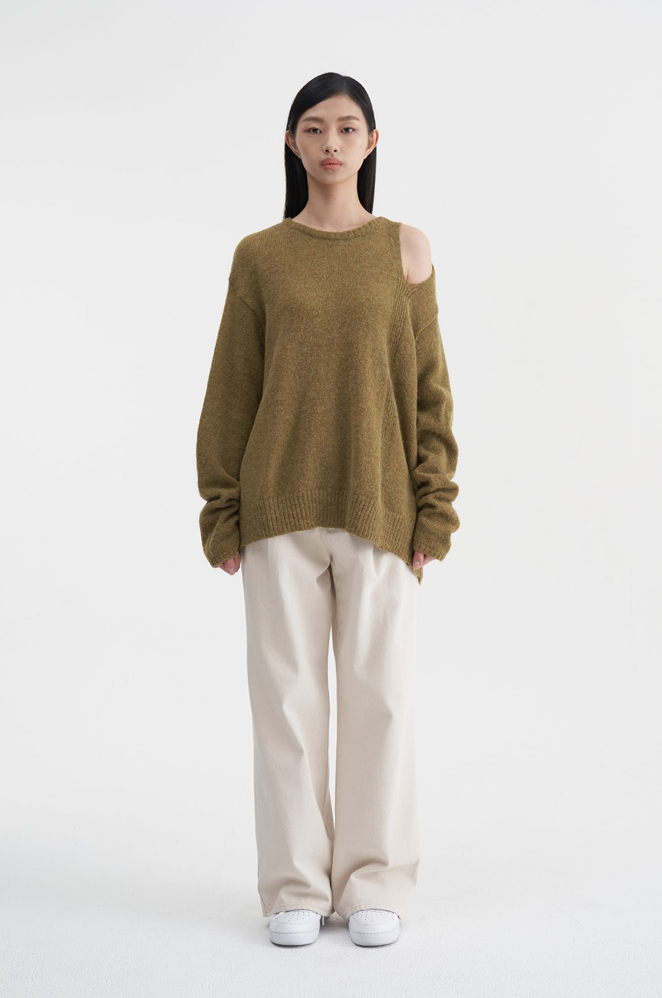 Open Shoulder Sweater (KHAKI)