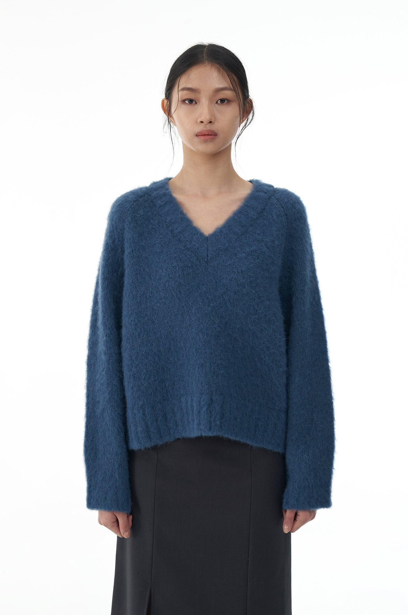 Alpaca Blended Brushed Pullover (BLUE)