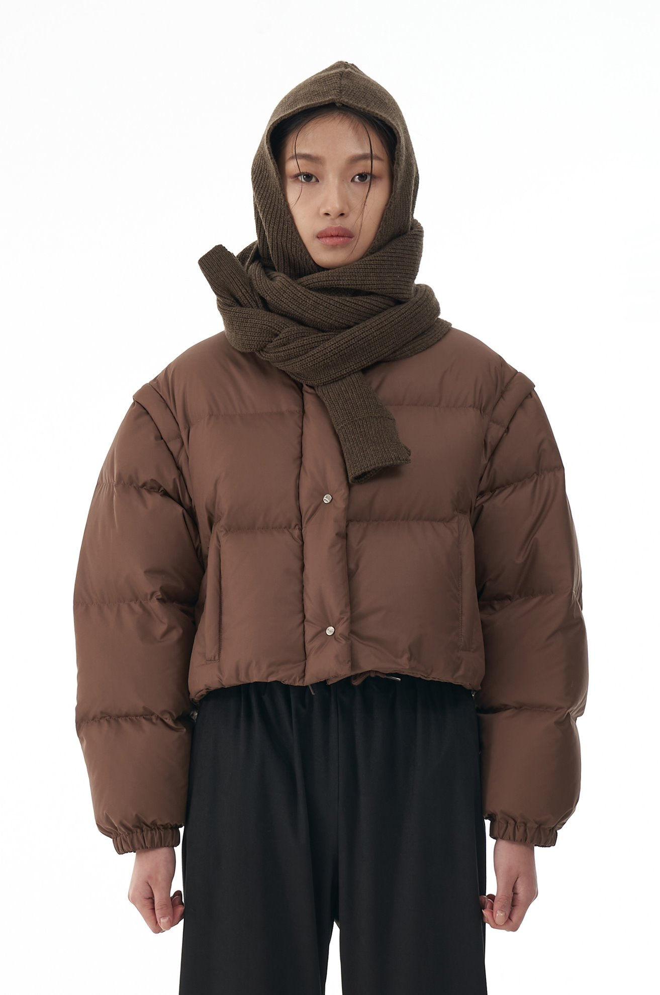 Crop Duck Down Jacket with Detachable Sleeves (BROWN)