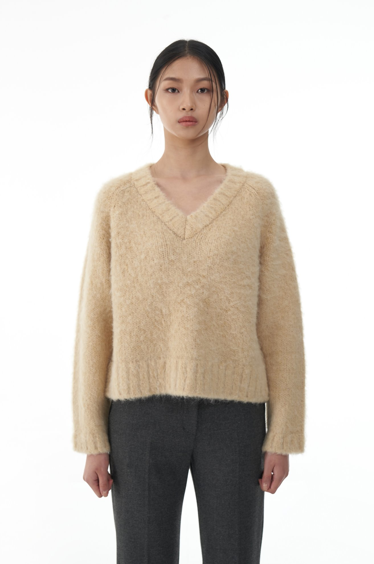 Alpaca Blended Brushed Pullover (YELLOW)