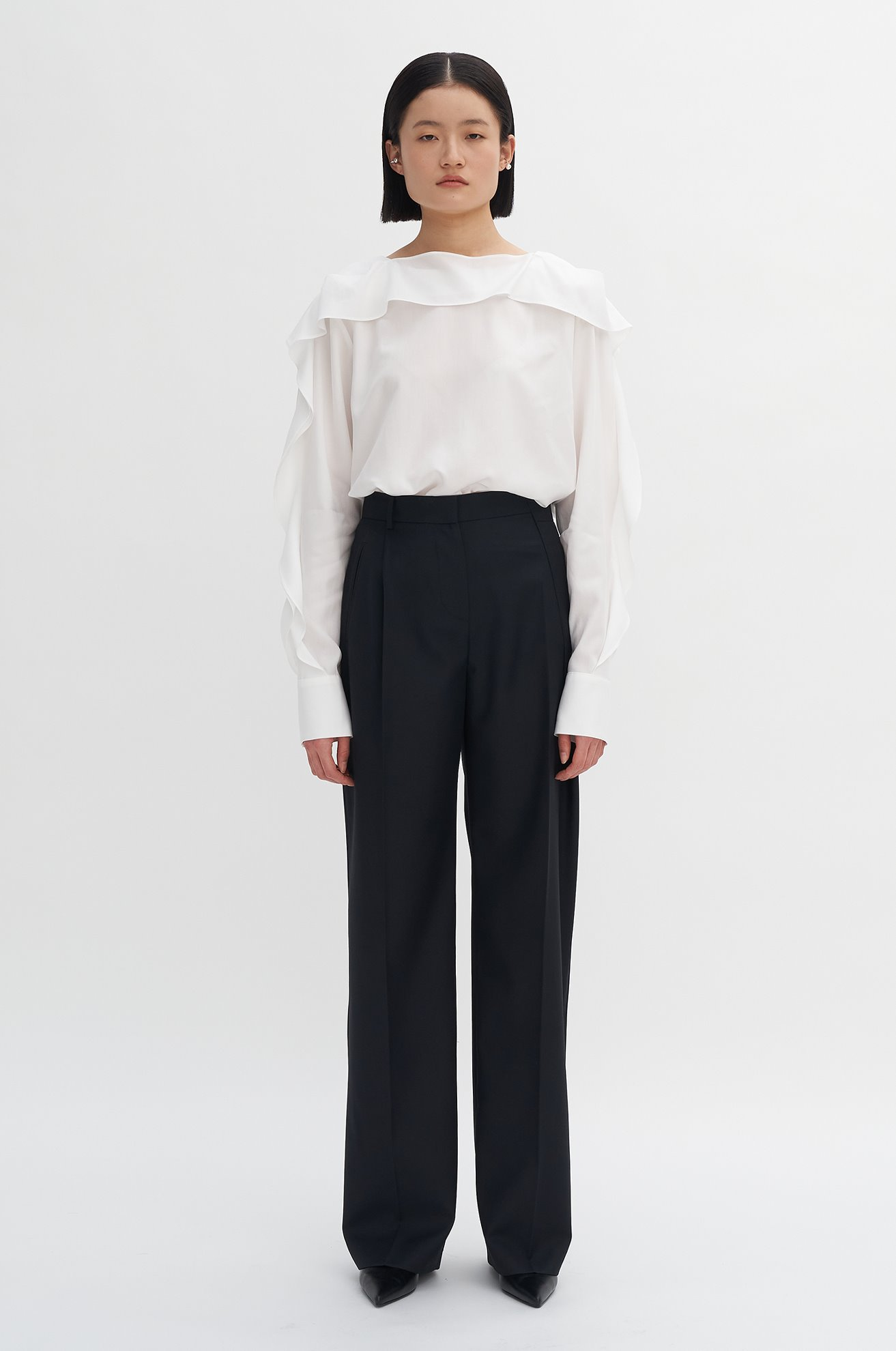 Unbalanced Pleat Trouser