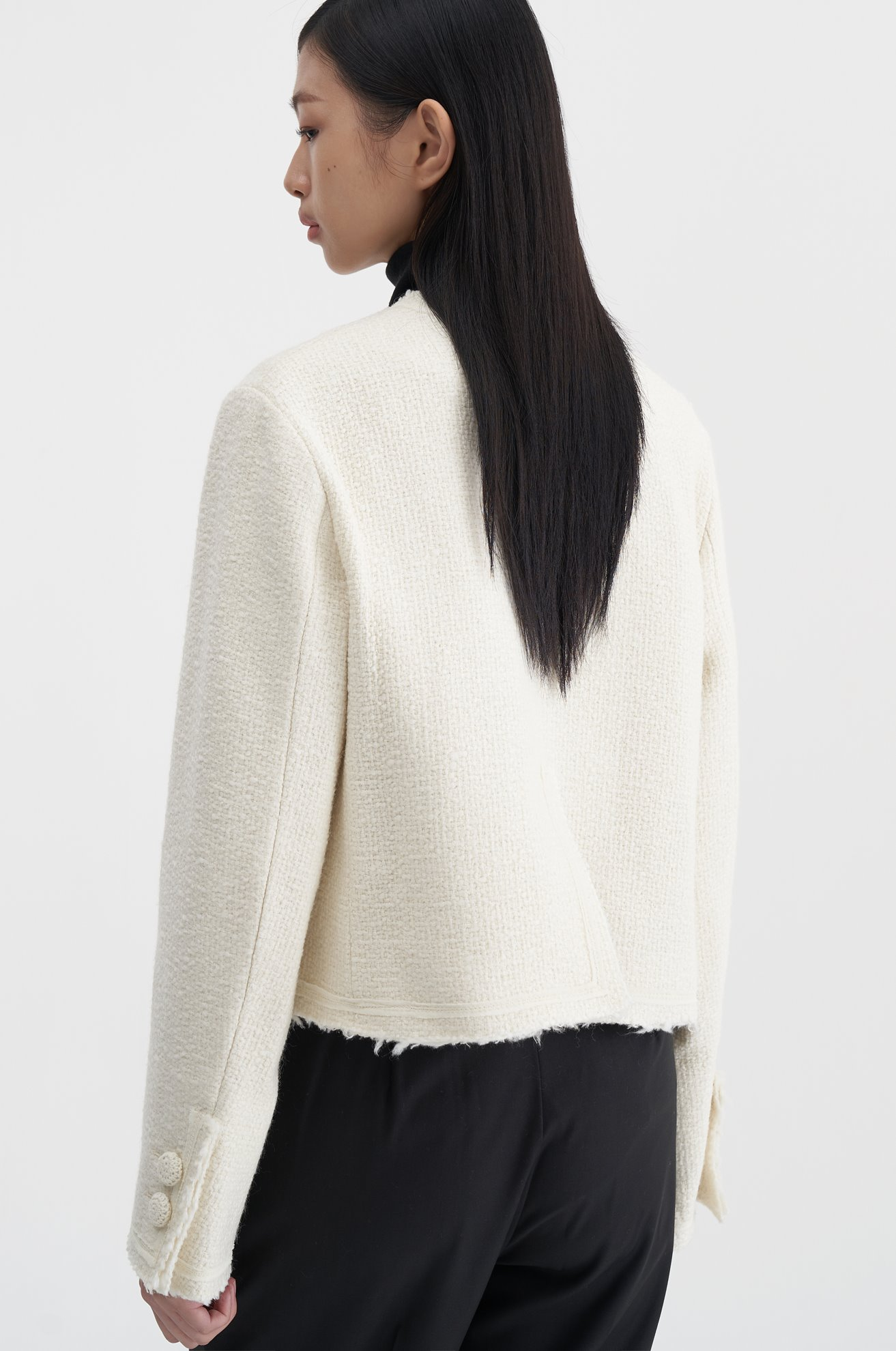 Tweed Button Up Jumper (IVORY)