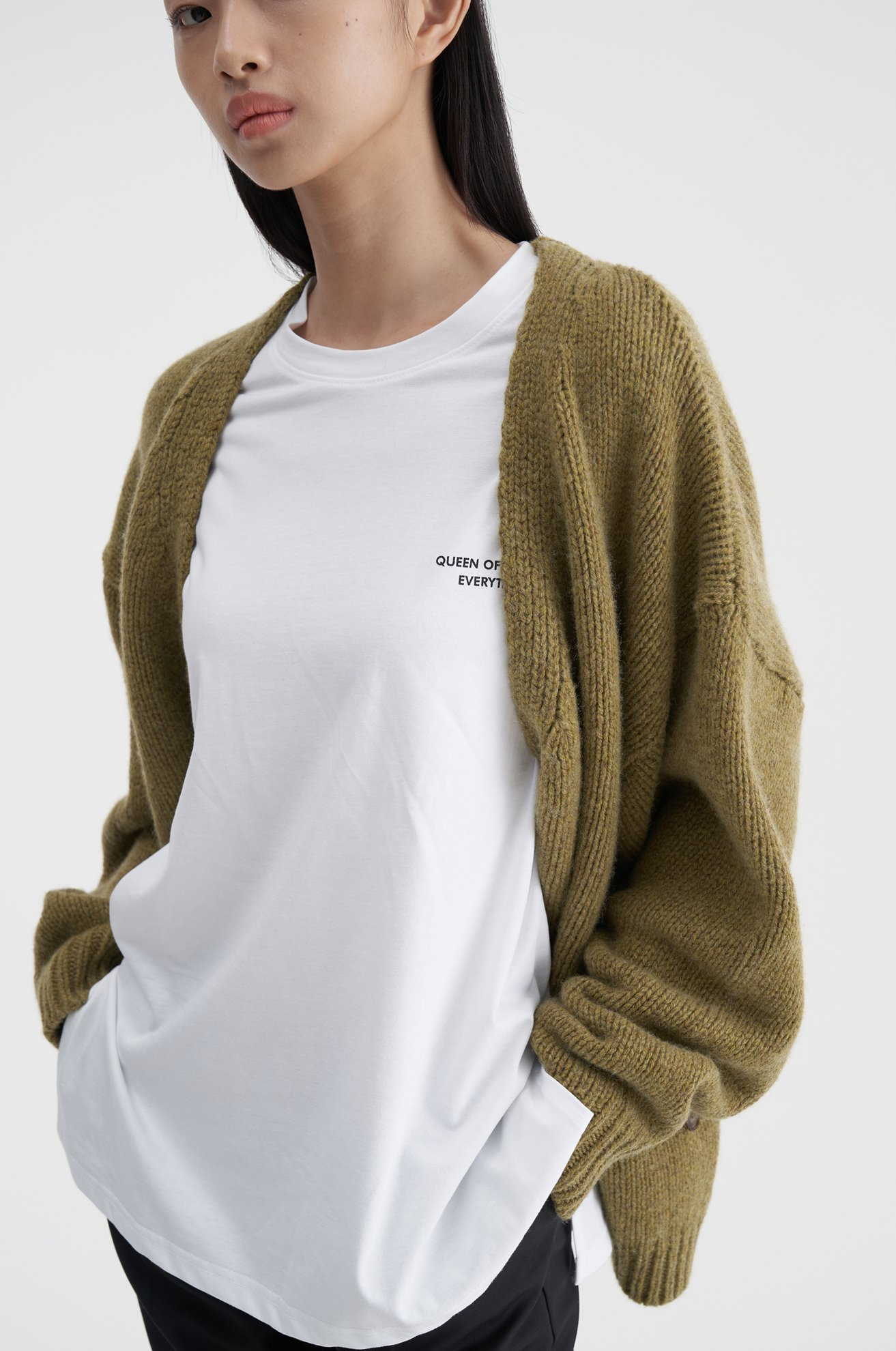 Asymetrical Wool Cardigan (KHAKI)