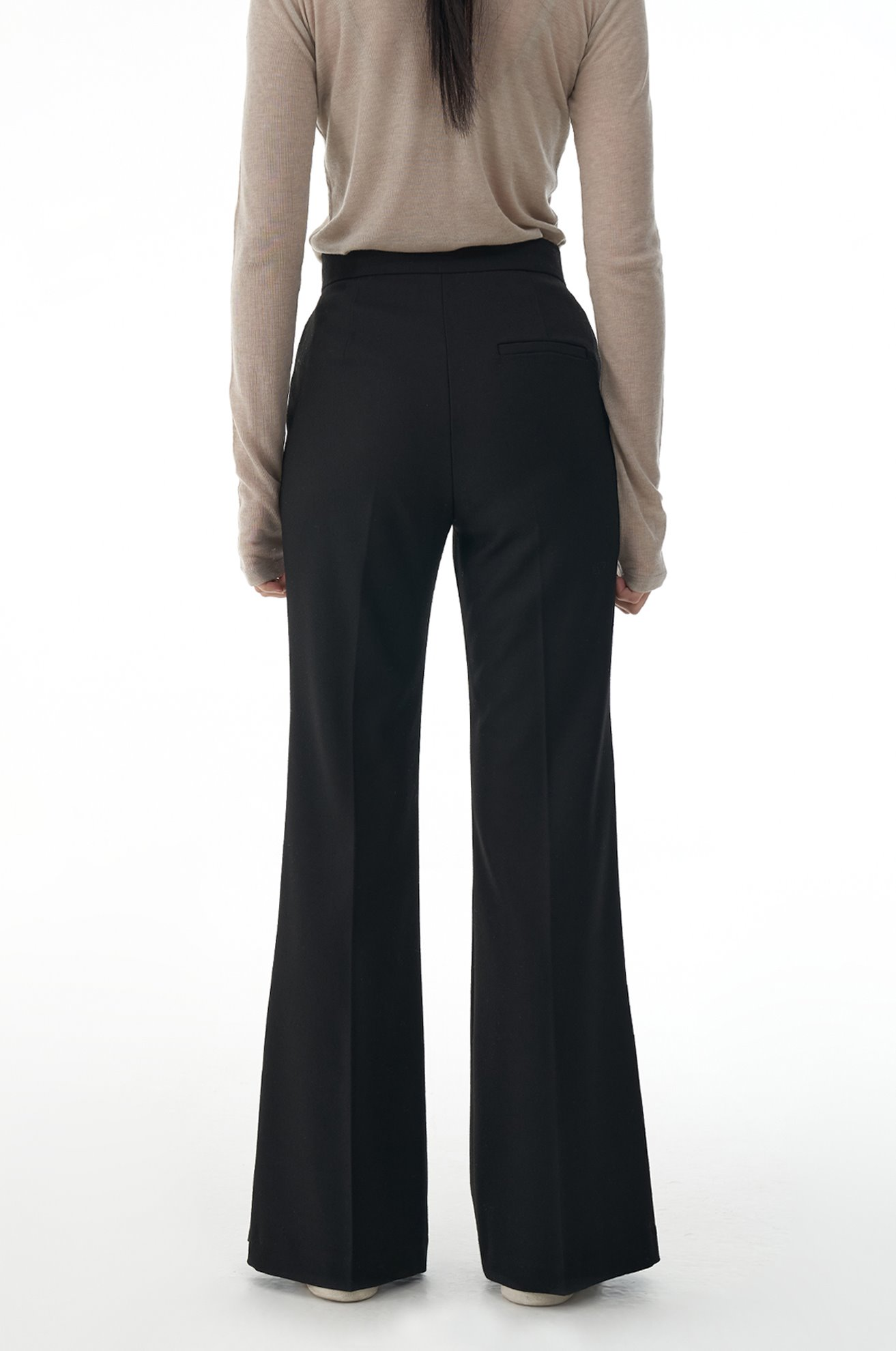 Boots Cut Slacks with Slit Hem (BLACK)