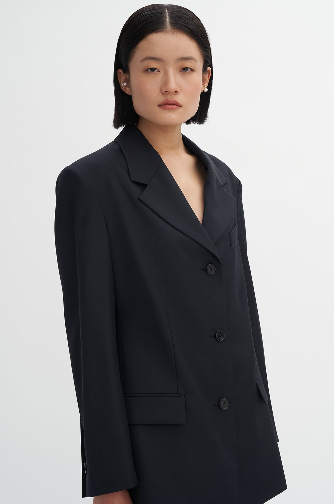 Three Button Pleat Blazer