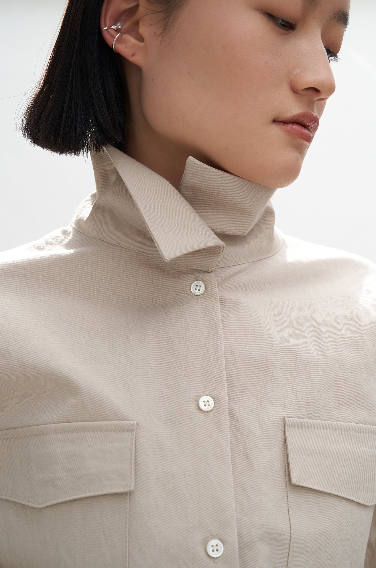 Washed High Neck Shirt