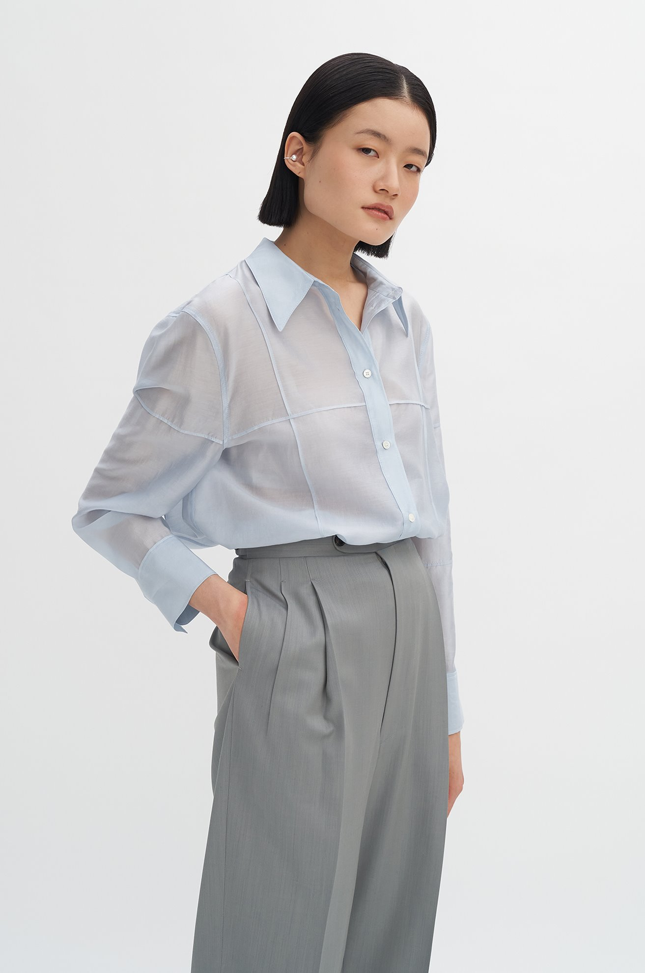 Square Pintuck Blouse
